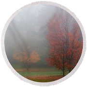 Autumn Fog Round Beach Towel