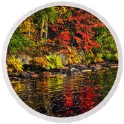 Autumn Forest And River Landscape Round Beach Towel