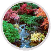 Autumn Garden Waterfall I Round Beach Towel