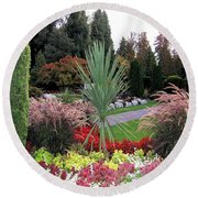 Autumn Gardens In Vancouver Round Beach Towel