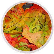 Autumn Gathering Round Beach Towel