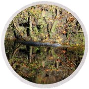 Autumn Gator Round Beach Towel
