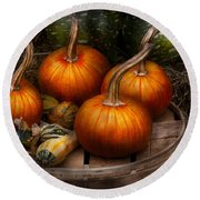 Autumn - Gourd - Pumpkins And Some Other Things  Round Beach Towel
