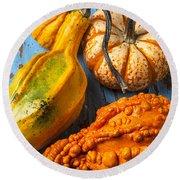 Autumn Gourds Still Life Round Beach Towel