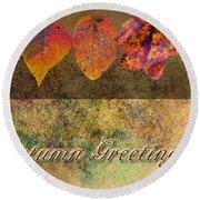 Autumn Greeting Card IIi Round Beach Towel