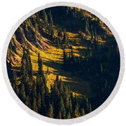 Autumn In A High Mountain Meadow Round Beach Towel