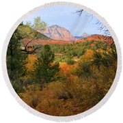 Autumn In Red Rock Canyon Round Beach Towel