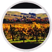 Autumn In The Valley 2 - Digital Painting Round Beach Towel