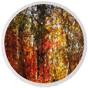 Autumn In The Woods Round Beach Towel by David Lane