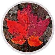 Autumn Leaf Art Iv Round Beach Towel