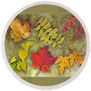 Autumn Leaf Collage Round Beach Towel