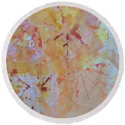 Autumn Leaf Splatter Round Beach Towel