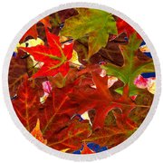 Autumn Leaves Collage Round Beach Towel