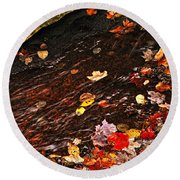 Autumn Leaves In River Round Beach Towel