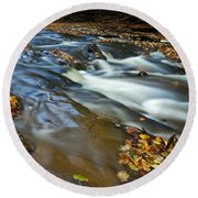Autumn Leaves In Water II Round Beach Towel