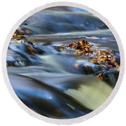 Autumn Leaves In Water IIi Round Beach Towel