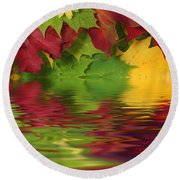 Autumn Leaves In Water With Reflection Round Beach Towel