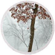 Autumn Leaves In Winter Snow Storm Round Beach Towel