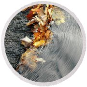 Autumn Leaves Tiny Dam Round Beach Towel