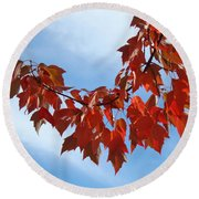 Autumn Leaves Tree Red Orange Art Prints Blue Sky White Clouds Round Beach Towel
