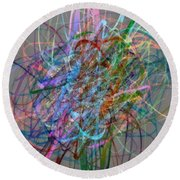 Autumn Likes Lines Round Beach Towel by Michelle Calkins