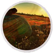 Autumn Morn In The Berry Field Round Beach Towel