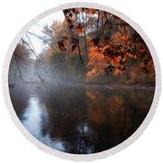 Autumn Morning By Wissahickon Creek Round Beach Towel
