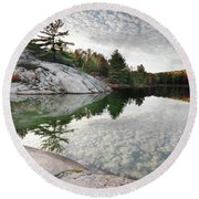 Autumn Nature Lake Rocks And Trees Round Beach Towel