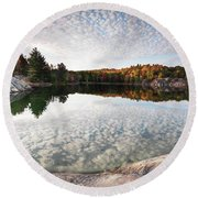Autumn Nature Lake Rocks And Trees Panorama Round Beach Towel