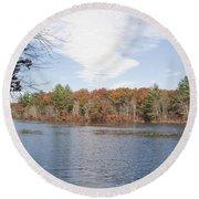 Autumn On Mill Pond Round Beach Towel
