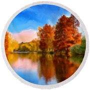 Autumn On The Lake Round Beach Towel