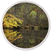 Autumn On The Pond Round Beach Towel