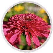 Autumn Pink Round Beach Towel