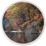 Autumn Pond Reflections Round Beach Towel