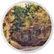 Autumn Railroad Round Beach Towel