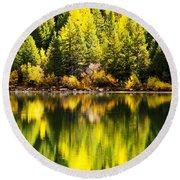 Autumn Reflection In Georgetown Lake Colorado Round Beach Towel
