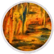Autumn Reflection In The Water Round Beach Towel