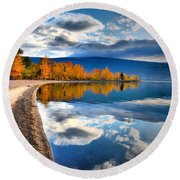 Autumn Reflections In October Round Beach Towel by Tara Turner