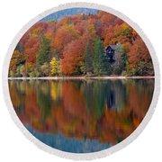 Autumn Reflections On Lake Bohinj In Slovenia Round Beach Towel