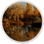 Autumn Reflections Painterly Round Beach Towel