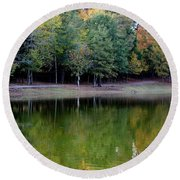 Autumn Reflections Upon Dark Waters Round Beach Towel