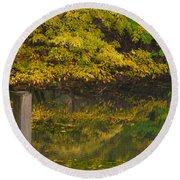 Autumn Reflections_0138 Round Beach Towel