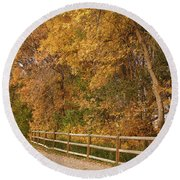 Autumn  Road To The Ranch Round Beach Towel