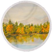 Beyond The Hills Round Beach Towel