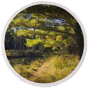 Autumn Scene Of The Little Manistee River In Michigan No. 0882 Round Beach Towel