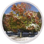 Autumn Snow Round Beach Towel