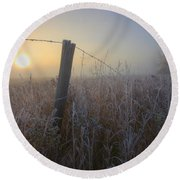 Autumn Sunrise Over Hoar Frost-covered Round Beach Towel