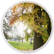 Autumn Sunset Round Beach Towel