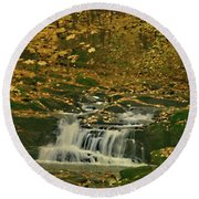 Autumn Surrounded In Color Round Beach Towel