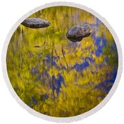 Autumn Tree Reflections With Rocks On The Muskegon River Round Beach Towel